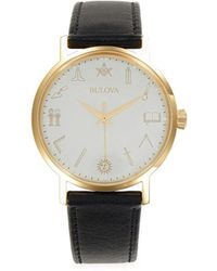 Bulova Japanese Quartz Movement Stainless Steel & Leather Strap Watch - White