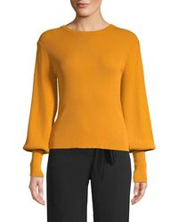 Lea & Viola Women's Bishop-sleeve Roundneck Top - Mustard - Size M - Orange