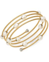 Alor - Classique 1.6mm White Round Freshwater Pearl, 18k Yellow Gold & Stainless Steel Bracelet - Lyst