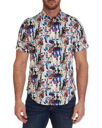 Robert Graham Aviation Classic-fit Floral Short-sleeve Shirt - Blue