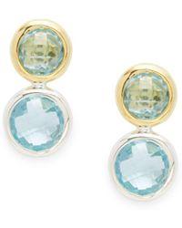 Gurhan - Blue Topaz, Gold & Silver Drop Earrings - Lyst