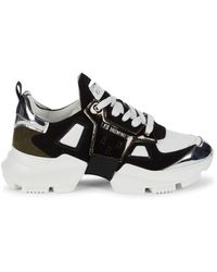 Les Hommes Leather & Suede Sneakers - Black