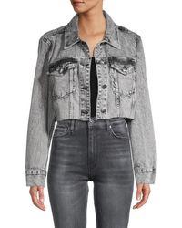 FRAME Ultra Cropped Denim Jacket - Grey