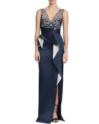 Marchesa Embroidered Peplum Gown - Blue