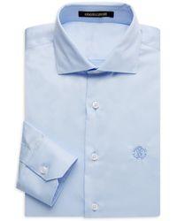 Roberto Cavalli Men's Regular-fit Embroidered Logo Dress Shirt - Light Blue - Size 16 41