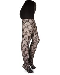 DKNY - Floral Lace Tights - Lyst