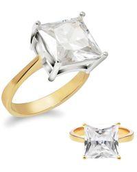 Gabi Rielle Women's Get Personal 14k Gold Vermeil & Crystal Ring/size 6 - Size 6 - Metallic
