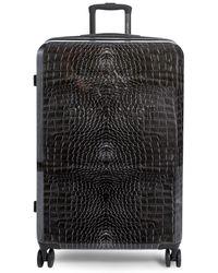 "Roberto Cavalli 27"" Croco-print Hard Case Spinner Suitcase - Black"
