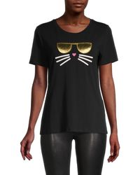 Karl Lagerfeld Printed Stretch-cotton Tee - Black