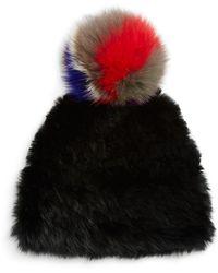 Surell Rabbit Fur Tuque With Fox Fur Pom-pom - White