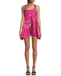 Free People Women's Let The Sun Shine In Floral Dress - Light Combo - Size L - Pink