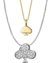 Alex Woo - 14k Yellow Gold, White Gold And Diamonds Vegas Spade And Club Necklace - Lyst