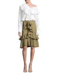 Peserico - Mermaid-front Ruffle Cotton Skirt - Lyst