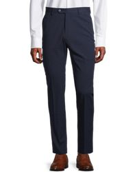 Tommy Hilfiger Men's Slim-fit Seersucker Stretch-cotton Suit Separates Trousers - Navy - Size 38 34 - Blue