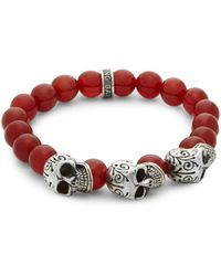 King Baby Studio Men's Beaded Skull Bracelet - Red