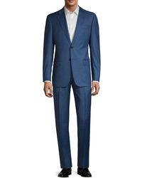 Emporio Armani G-line Fit Pindot Virgin-wool Suit - Blue