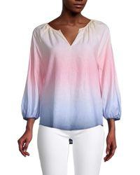 Saks Fifth Avenue Ombre Dip-dye Splitneck Tunic Top - Pink