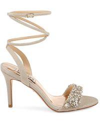 Badgley Mischka Women's Jen Wrap Ankle-strap Sandals - Seashell Satin - Size 6 - Metallic