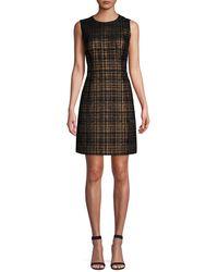 Elie Tahari Jaelyn Tweed Mini A-line Dress - Black