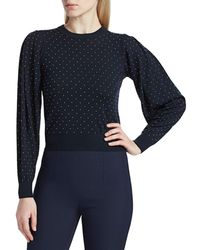 Michael Kors Women's Puff-sleeve Studded Merino Wool Jumper - Midnight - Size S - Blue