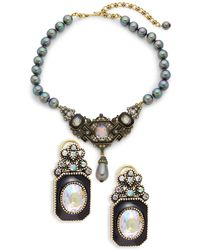 Heidi Daus Deco Design Glass Pearl Crystal & Rhinestone Necklace & Earring Set - Multicolour