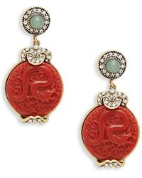 Heidi Daus Goldtone, Crystal & Resin Drop Earrings - Multicolour