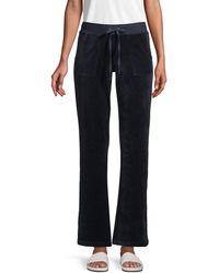 Juicy Couture Wide-leg Cotton-blend Drawstring Pants - Blue