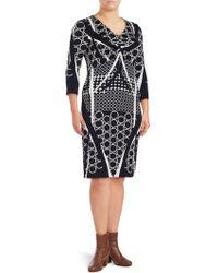 Basler - Printed V-neck Sheath Dress - Lyst