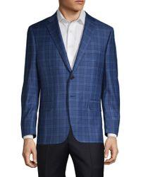 Hickey Freeman Single-breasted Plaid Wool Suit Jacket - Blue
