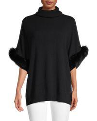 Sofia Cashmere Fox Fur Cuff Turtleneck Cashmere Jumper - Black