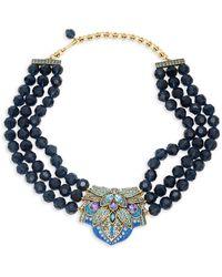 Heidi Daus Montana Crystal Triple-strand Beaded Necklace - Multicolour