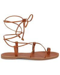 Madewell Women's Boardwalk Lace Up Sandals - English Sand - Size 6 - Brown