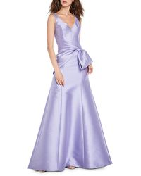 THEIA Bow-front Satin Gown - Purple