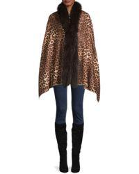 La Fiorentina Butterfly-print & Fox Fur-trim Cropped Wrap - Multicolour