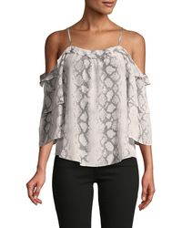 Generation Love Gwen Snake-print Silk Cold-shoulder Top - White