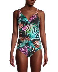 X By Gottex Women's Palm-print One-piece Swimsuit - Black Multicolour - Size 36 (6)