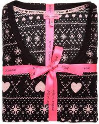 Betsey Johnson Fairisle Heart-print Waffle Fleece Pyjama Set - Black