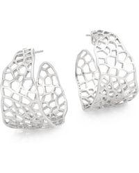 "Ron Hami - Silver Lining Sterling Silver Cutout Hoop Earrings/0.75"" - Lyst"