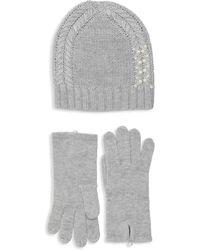Badgley Mischka - Pearl Embellished Hat & Glove Set - Lyst