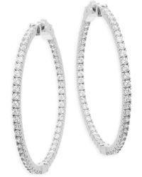 """Saks Fifth Avenue - Faceted Crystal Hoop Earrings/1.75"""" - Lyst"""