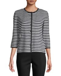 St. John - Two-toned Striped Cardigan - Lyst