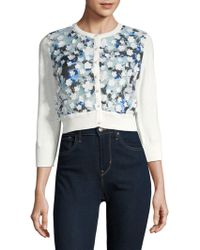 Karl Lagerfeld - Applique Cropped Cardigan - Lyst