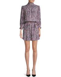 Zadig & Voltaire Rivali Leopard Blouson Mini Dress - Purple