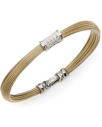 Alor - Classique Diamond, 18k Yellow Gold & Stainless Steel Bangle Bracelet - Lyst