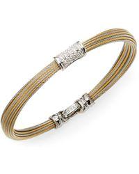 Alor | Classique Diamond, 18k Yellow Gold & Stainless Steel Bangle Bracelet | Lyst