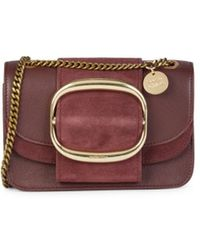 See By Chloé Women's Hopper Leather & Suede Crossbody Bag - Burgundy - Multicolour