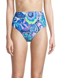 Tahari Paris Floral High-rise Bikini Bottom - Blue