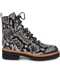 Marc Fisher Izzie 2 Embossed-snakeskin Leather Combat Boots - Black