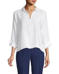 Saks Fifth Avenue High-low Linen Shirt - White