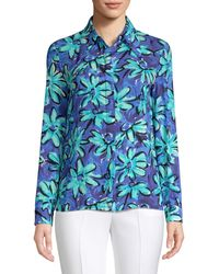 Michael Kors Painted Daisy Crushed Georgette Long-sleeve Tunic Blouse - Blue